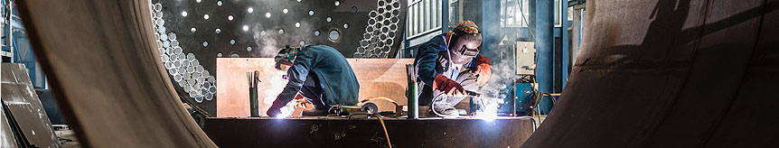 Banner of people welding